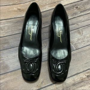 Salvatore Ferragamo black leather block heels